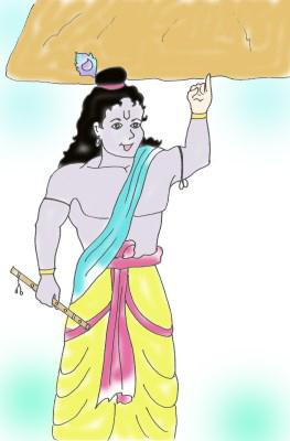 Krishna lift Goverdhana hill image