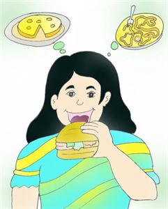 Girl eating junk food