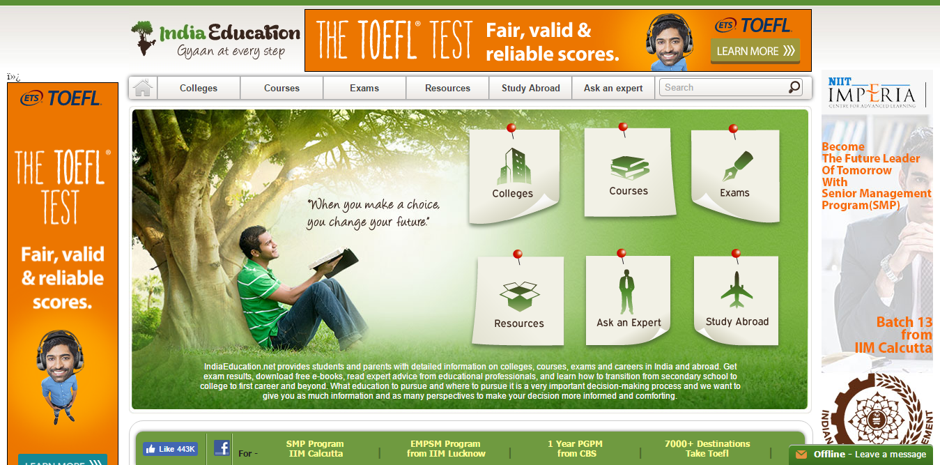 Indiaeducation website