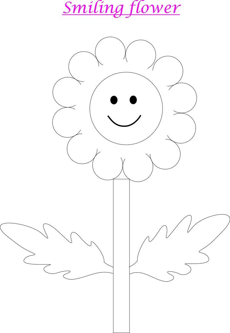 Smiley Flower coloring page for kids