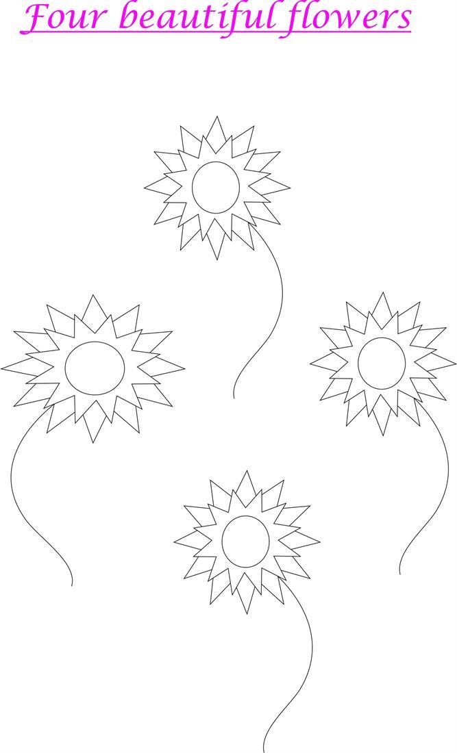 Flowers printable coloring worksheet for kids