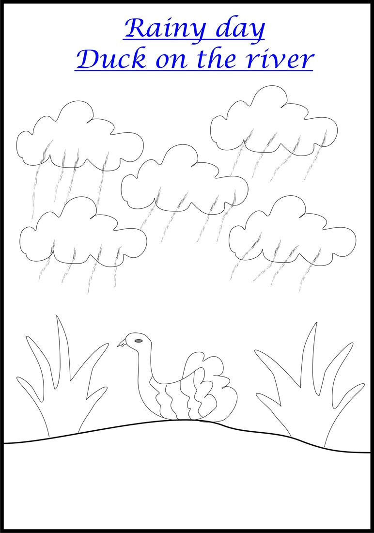 worksheet Rain Worksheets raining coloring page for kids