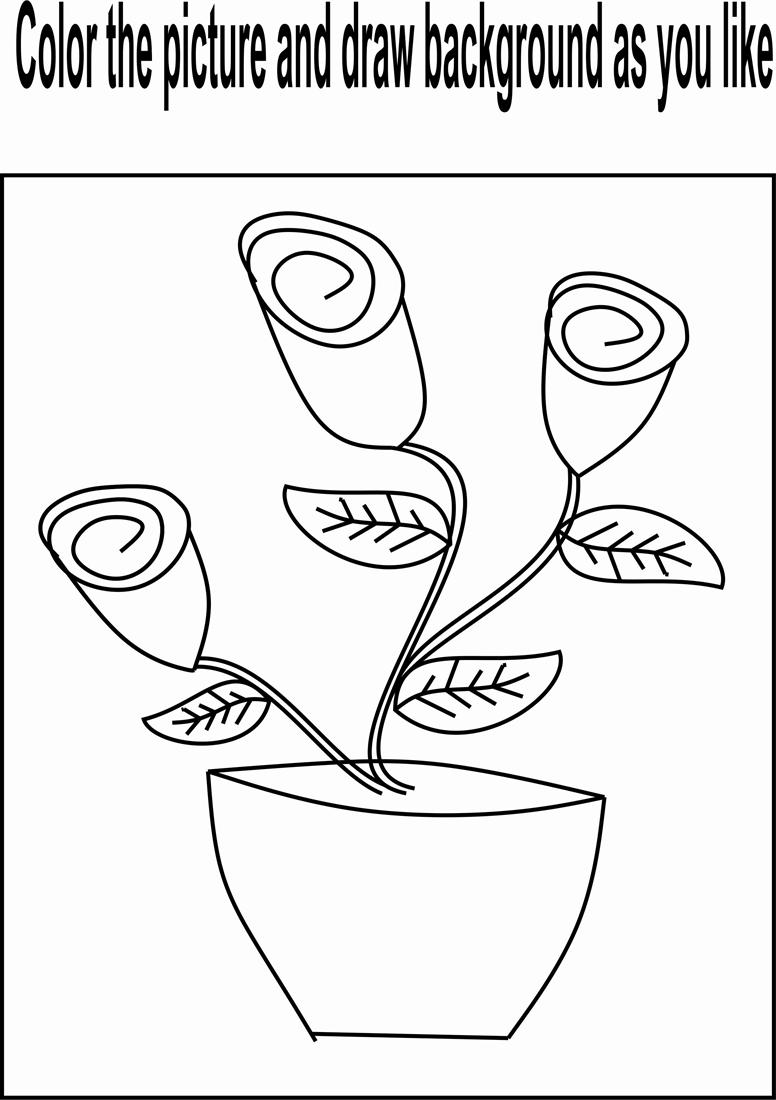 Flower buds coloring page for kids