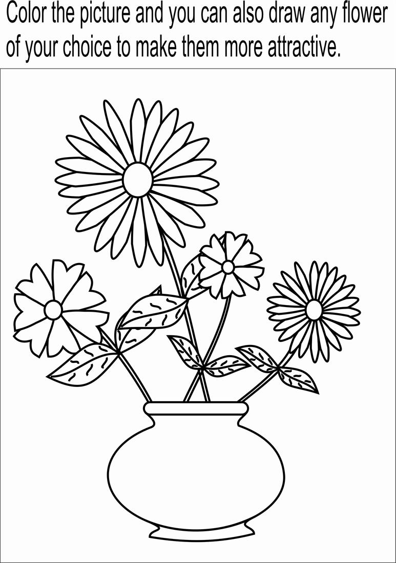flower pot coloring page printable for kids