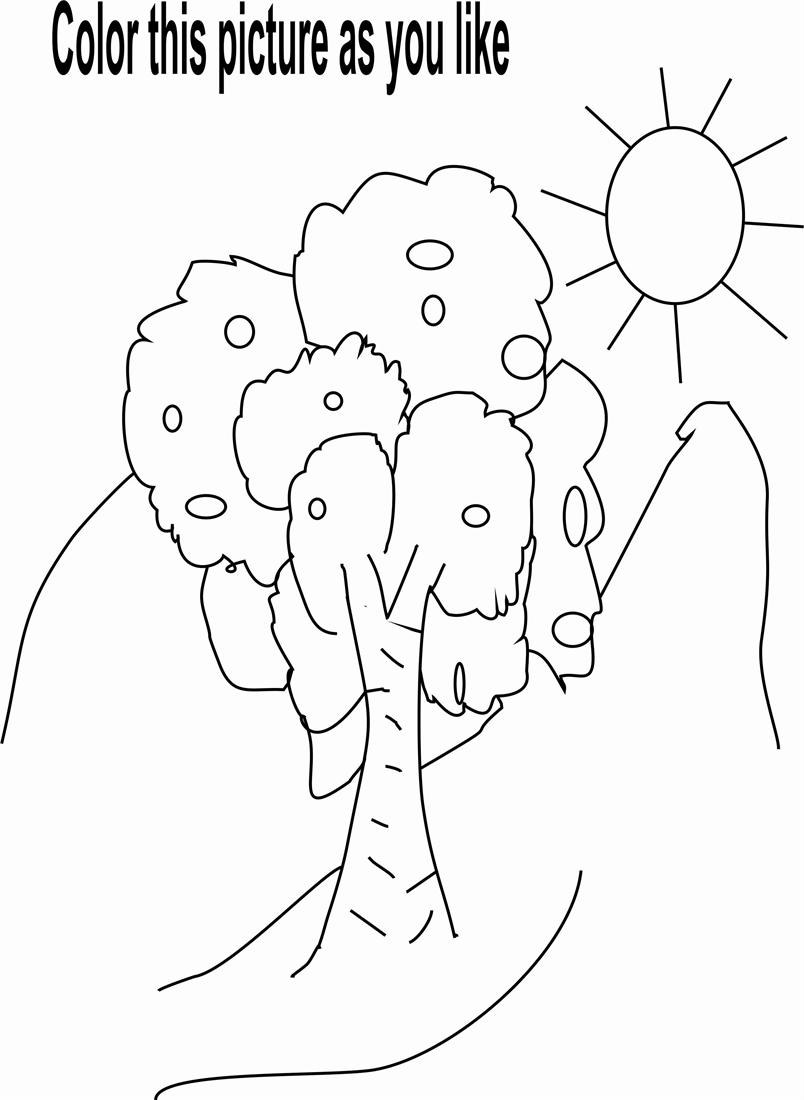 Nature Coloring Pages Pdf : Nature beauty coloring page for kids