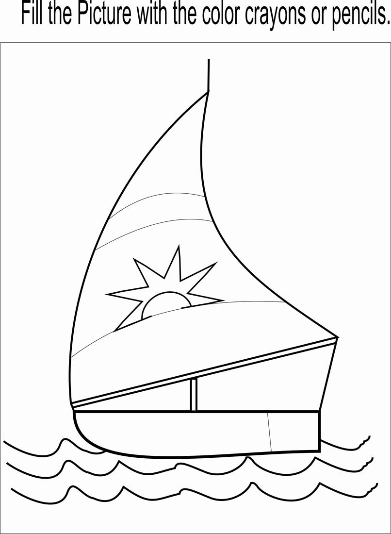 little boat coloring page printable for kids