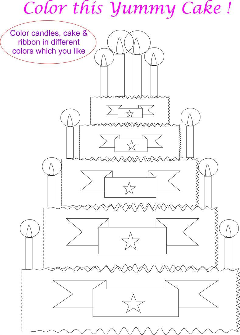big happy birthday cake coloring page for kids