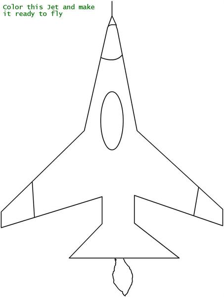 Beautiful Jet coloring printable page for kids