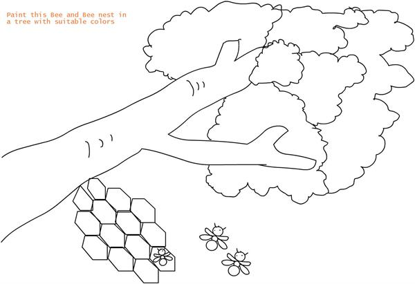 Beehive Coloring Printable Page For Kids