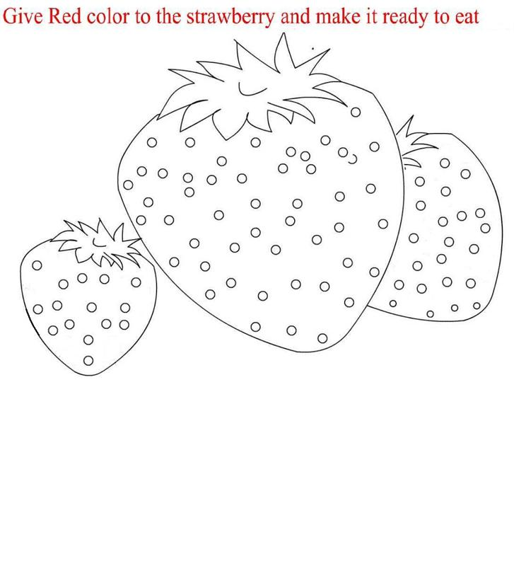 Strawberry coloring printable page for kids