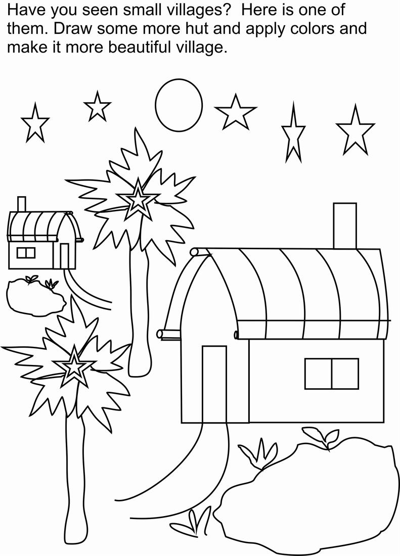 my village pictures coloring pages - photo#19