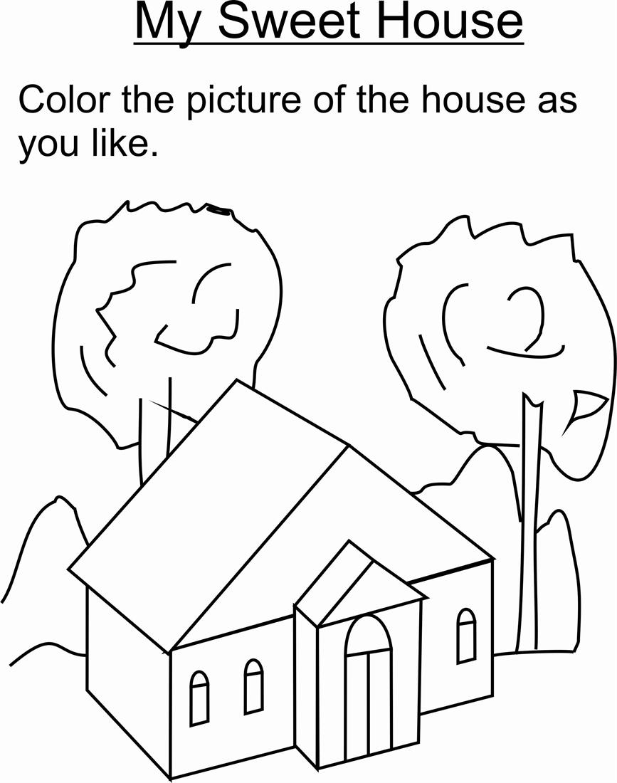 Sweet home coloring printable page for kids for My home pictures for kids