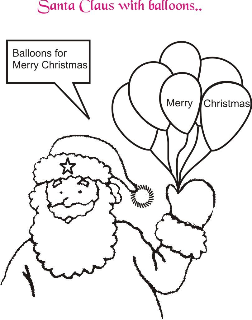 santa with balloons coloring page printable for kids