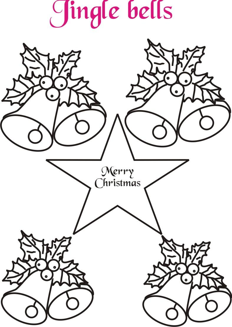 Jingle bells coloring printable page for kids: Printable Christmas ...
