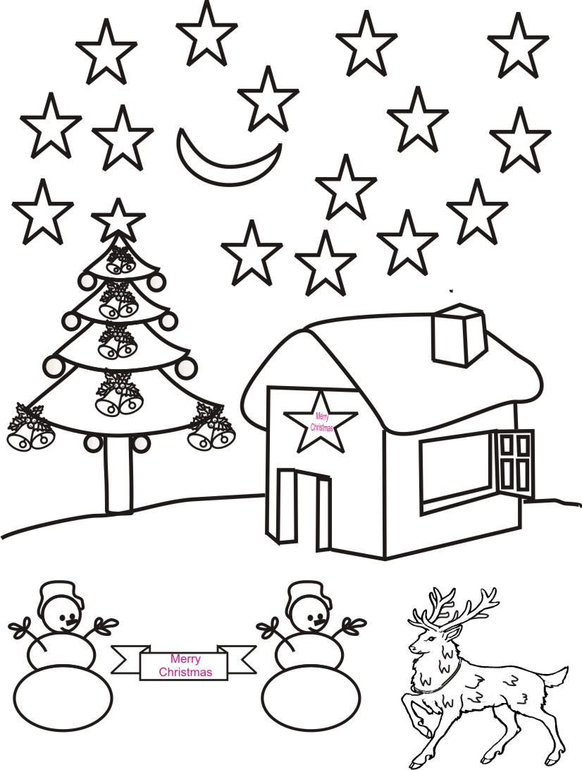 christmas night scenery coloring page - Printable Scenery Coloring Pages