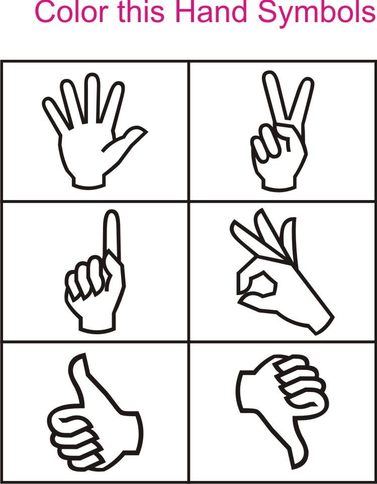 Hand Symbol Coloring Printable Page For Kids