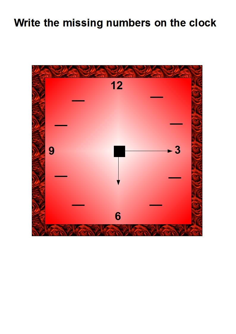 Write the missing numbers on the clock