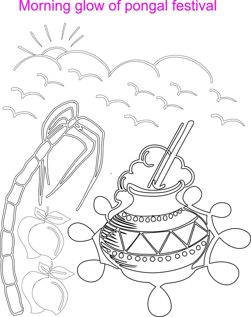 Morning Glow Coloring Printable Page For Kids Pongal Coloring Pages