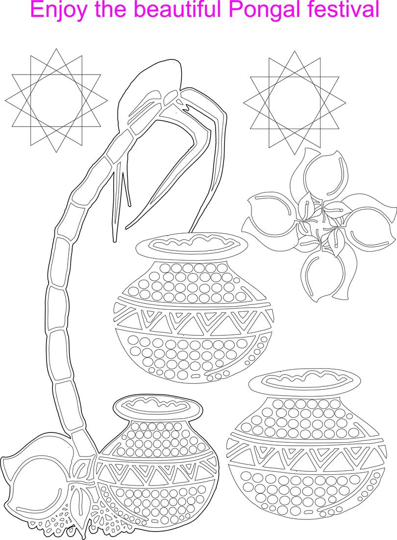 Beautiful Pongal Coloring Printable Page