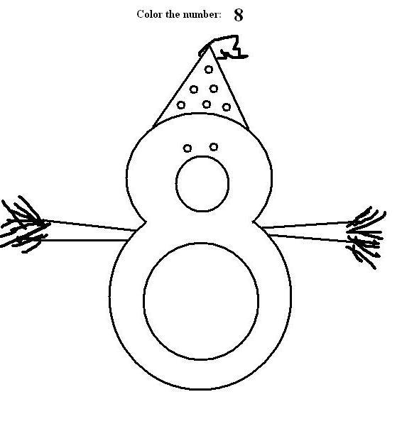 Number 8 coloring printable page for kids