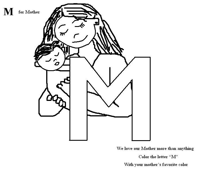 Letter M coloring printable page for kids