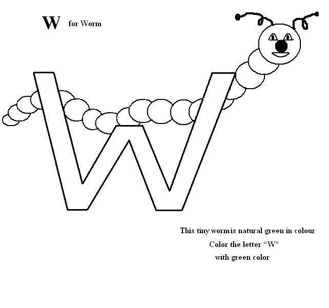 Letter w coloring printable page for kids for Letter w coloring pages printable
