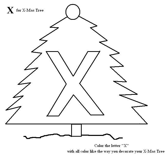 Letter X coloring printable page for kids