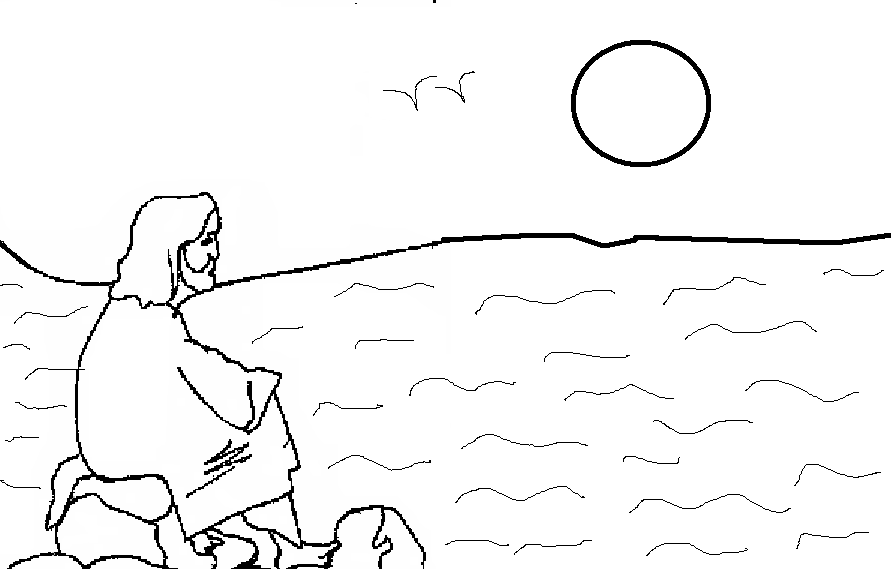 jesus looking sea coloring page for kids