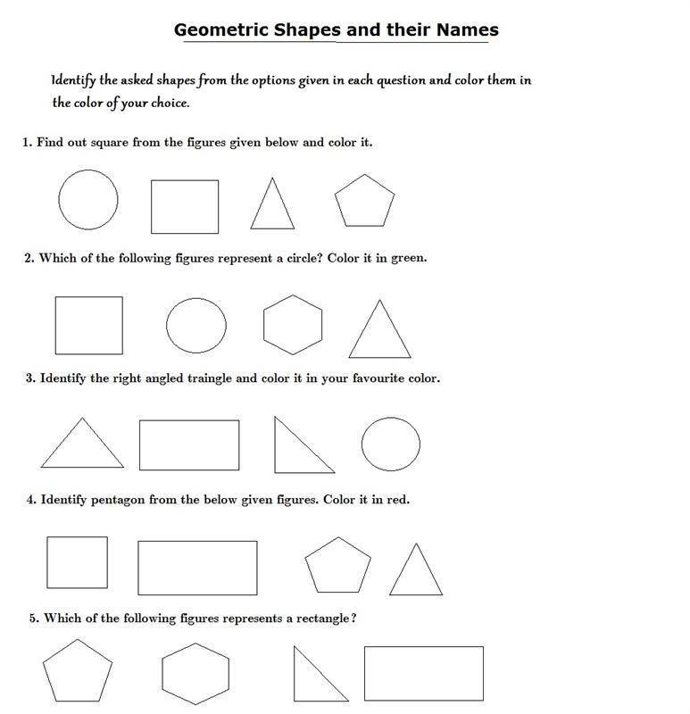 Identify the shapes – Identify Shapes Worksheet