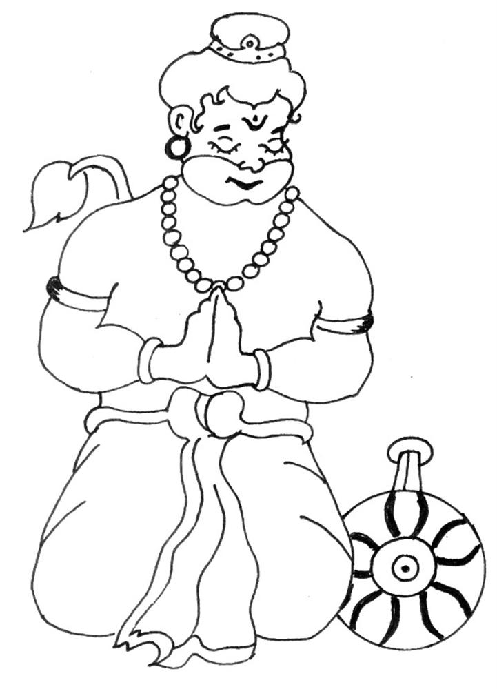 Bal Hanuman coloring printable page 1 for kids