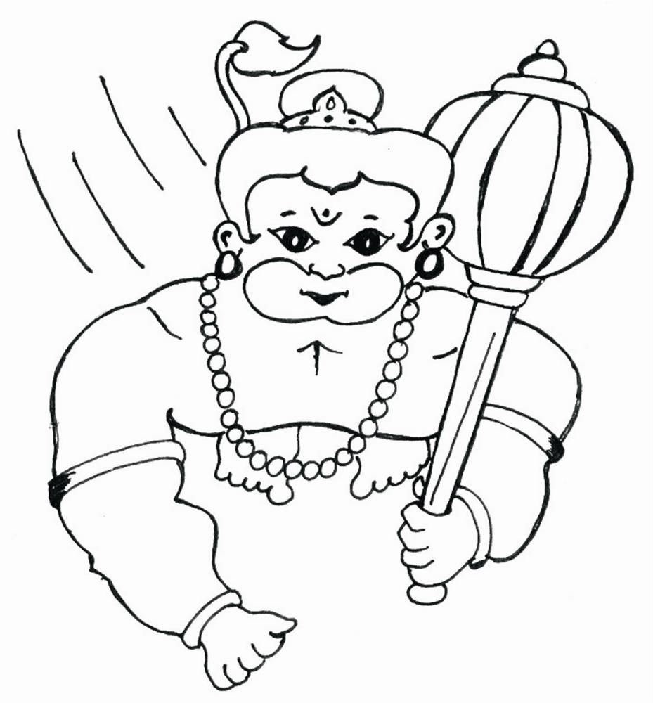 Bal Hanuman coloring printable page 4 for kids