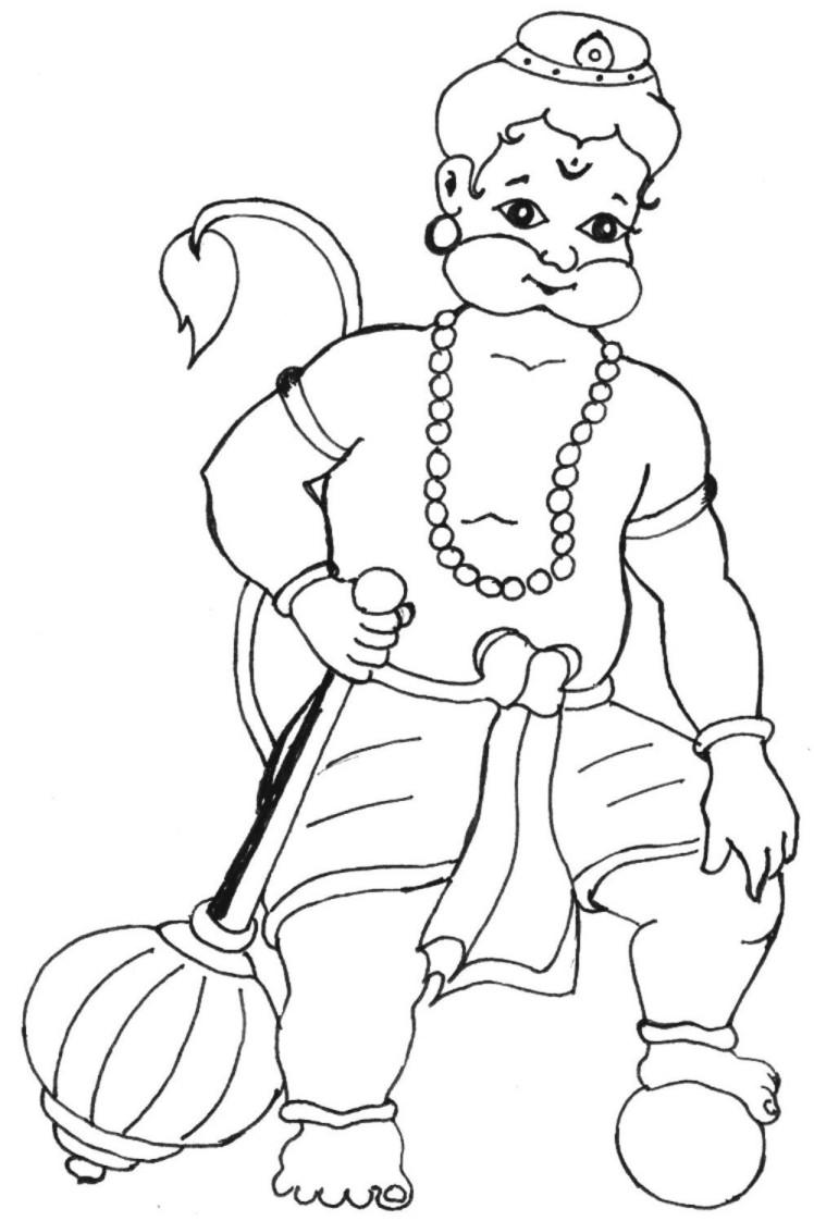 Bal Hanuman coloring printable page 3 for kids