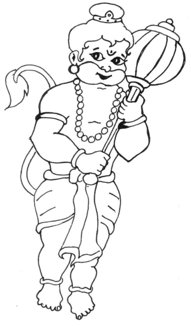 Bal Hanuman coloring printable page 2 for kids