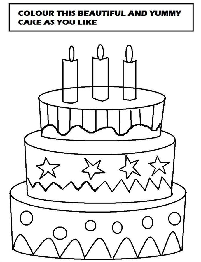 Cake Pictures To Print And Colour : Cake Coloring Page New Calendar Template Site
