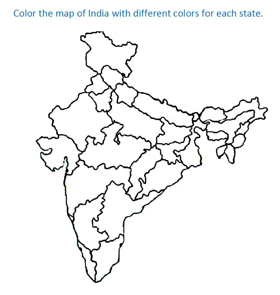 map of india with state coloring printable page