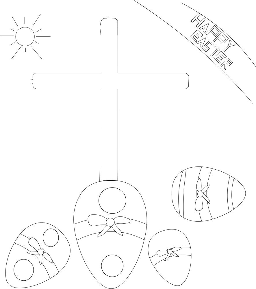 Easter symbols coloring printable page for kids: Easter Coloring pages ...