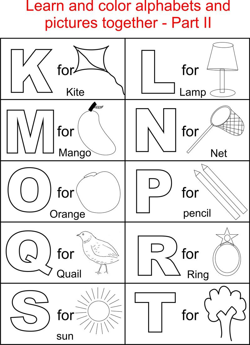 Alphabet part ii coloring printable page for kids for Free printable alphabet coloring pages for kids