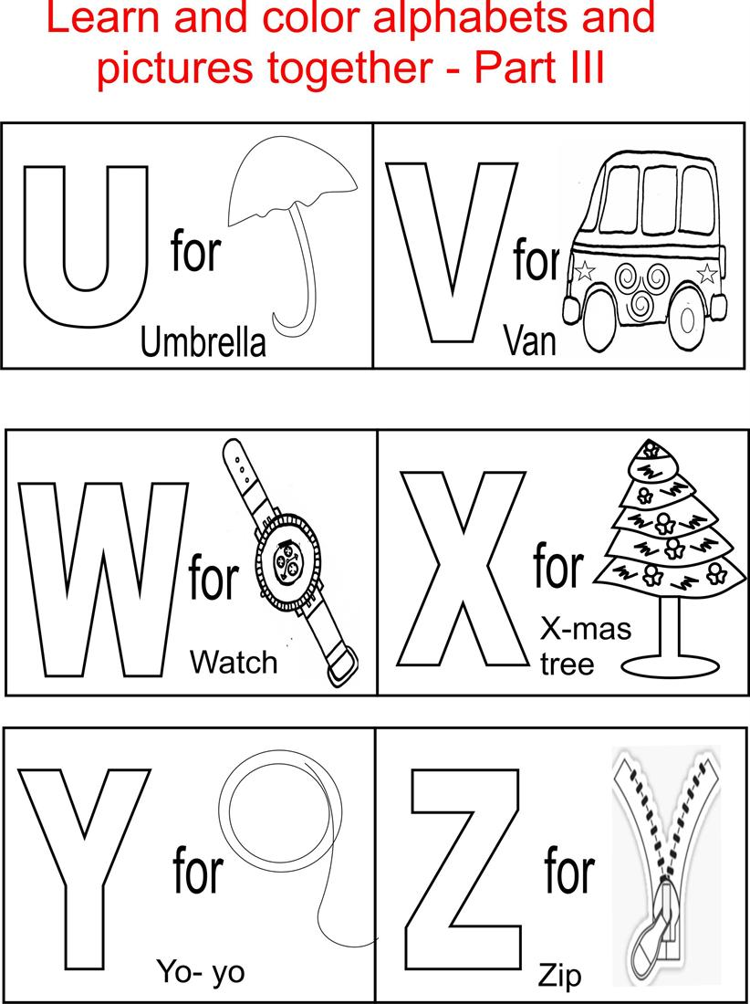 Alphabet part iii coloring printable page for kids for Free alphabet coloring pages for toddlers