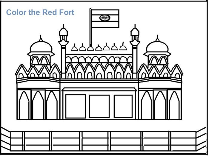 Red Fort coloring printable page for kids
