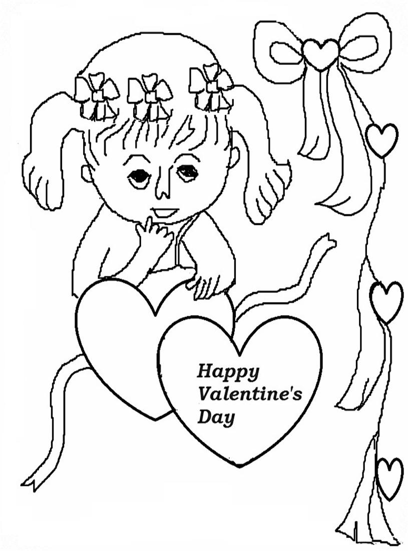 Valentines day coloring printable page for kids 4