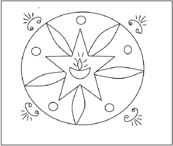 Rangoli Coloring Printable Page 4 For Kids