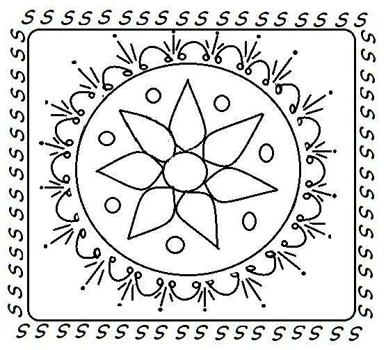 rangoli designs printable coloring pages - rangoli coloring printable page 16 for kids