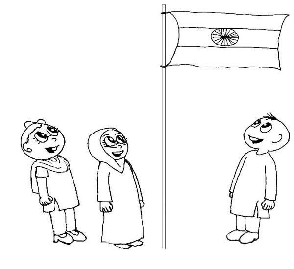 India Flag - Printable coloring page for kids