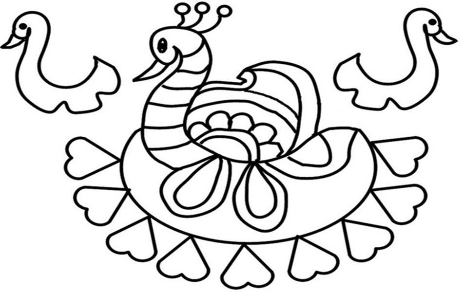 rangoli coloring printable page 10 for kids - Rangoli Coloring Pages