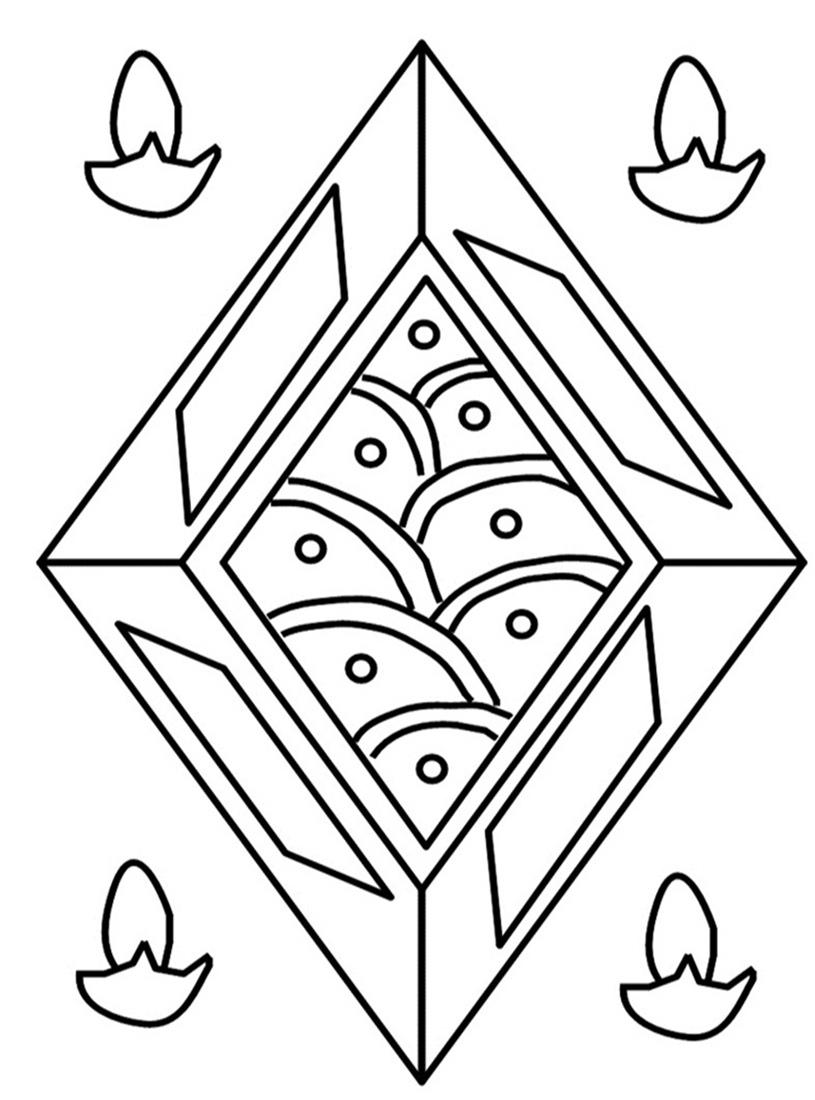 Rangoli coloring printable page 3 for kids for Rangoli coloring pages