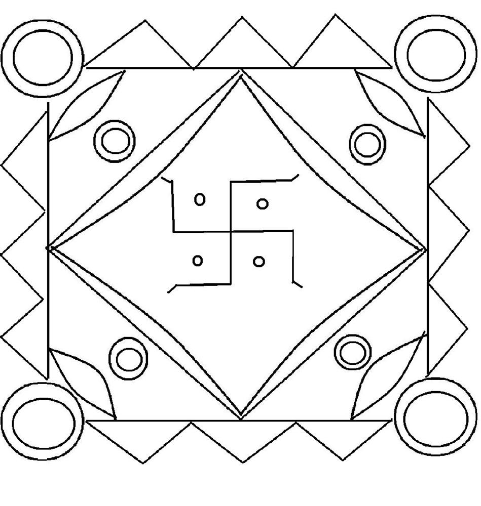 rangoli design coloring printable page for kids 10