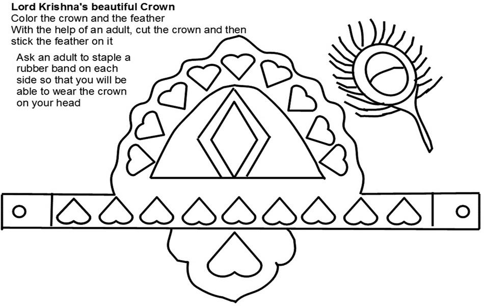 Lord Krishna Crown Sketch Coloring Page