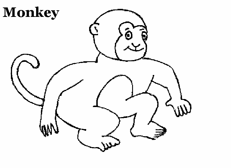 Monkey Coloring Pages Pdf : Monkey coloring printable page for kids