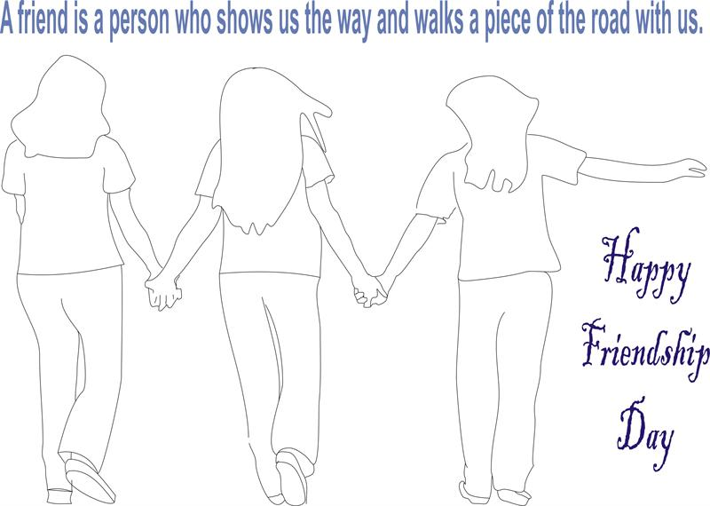 Friendship day coloring page for kids 8