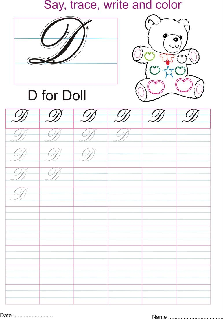 Worksheet Cursive D d cursive handwritingworksheets letter pics photos english alphabets in small capital and small